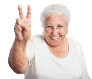 old woman victory symbol on a white background